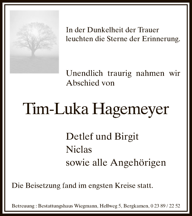 Anzeige von  Tim-Luka Hagemeyer