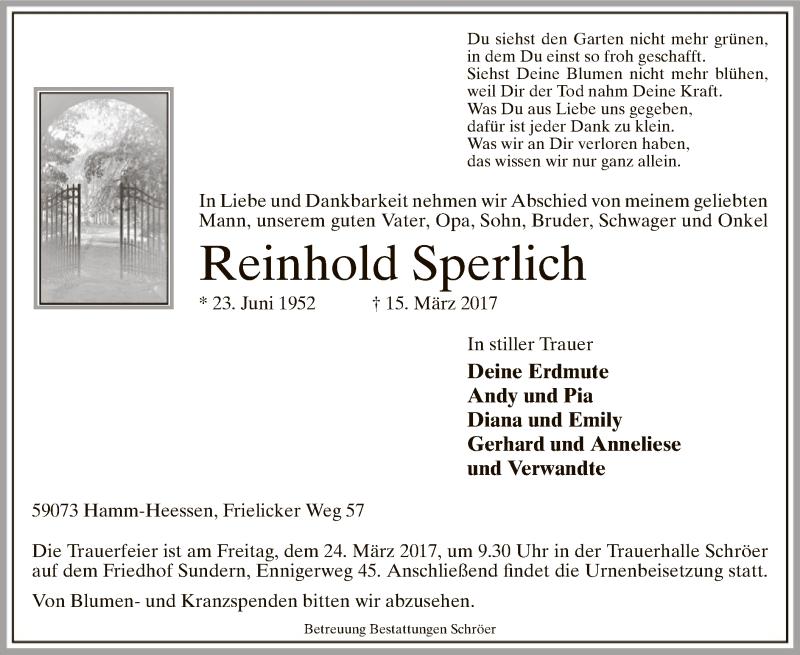 Traueranzeige für Reinhold Sperlich vom 18.03.2017 aus MZV