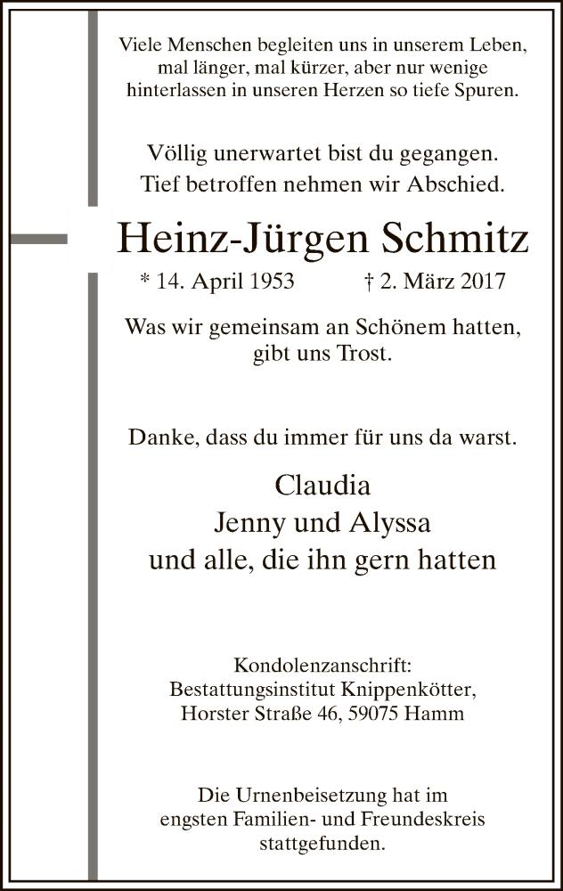 Traueranzeige für Heinz-Jürgen Schmitz vom 01.04.2017 aus MZV