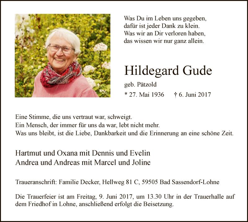 Anzeige von  Hildegard Gude