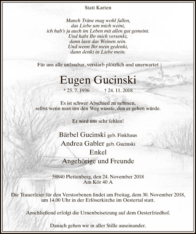 Traueranzeige für Eugen Gucinski vom 27.11.2018 aus MZV