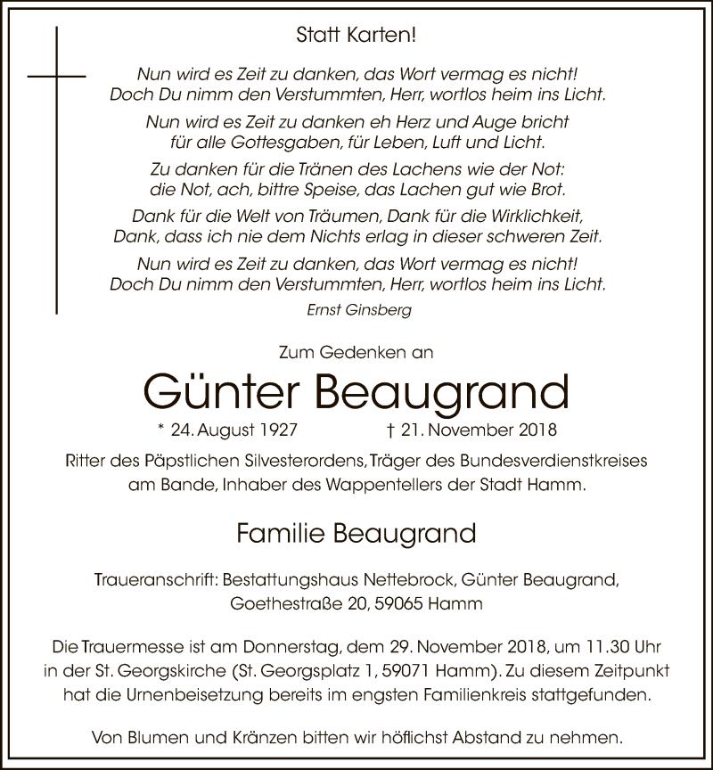 Traueranzeige für Günter Beaugrand vom 24.11.2018 aus MZV