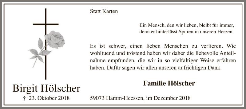 Traueranzeige für Birgit Hölscher vom 01.12.2018 aus MZV
