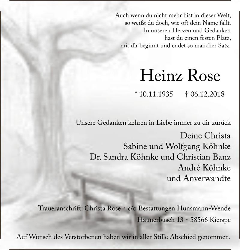 Traueranzeige für Heinz Rose vom 15.12.2018 aus MZV