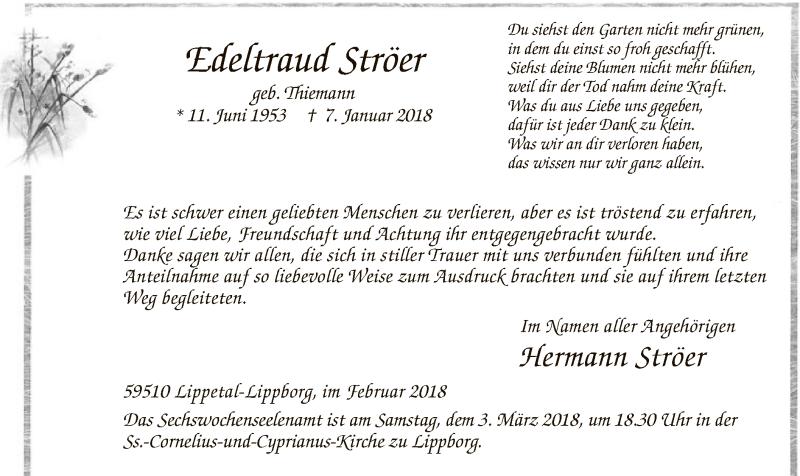 Anzeige von  Edeltraud Ströer