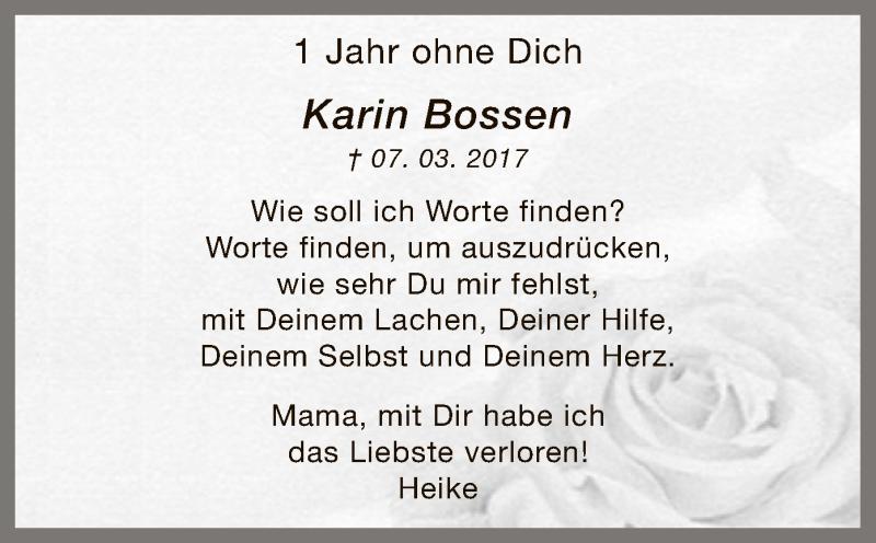 Anzeige von  Karin Bossen