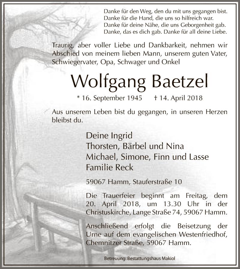 Traueranzeige für Wolfgang Baetzel vom 18.04.2018 aus MZV