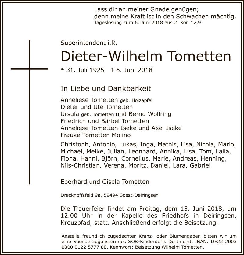 Traueranzeige für Dieter-Wilhelm Tometten vom 13.06.2018 aus MZV
