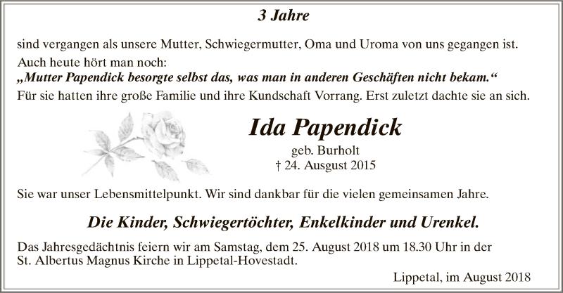 Traueranzeige für Ida Papendick vom 24.08.2018 aus MZV