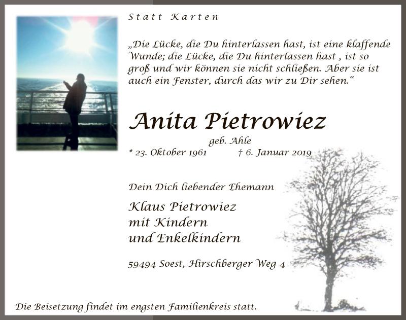 Traueranzeige für Anita Pietrowiez vom 12.01.2019 aus MZV