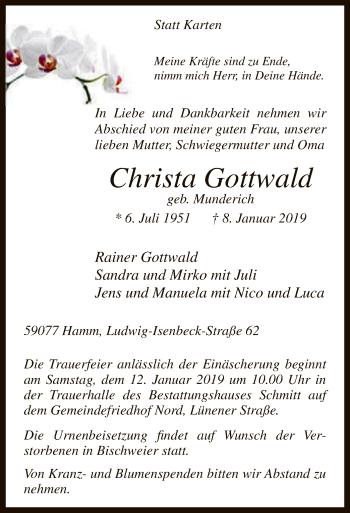 Traueranzeige für Christa Gottwald vom 10.01.2019 aus MZV