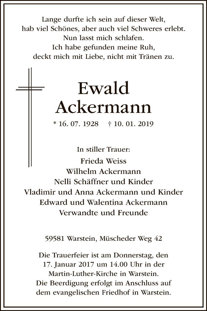 Traueranzeige für Ewald Ackermann vom 12.01.2019 aus MZV