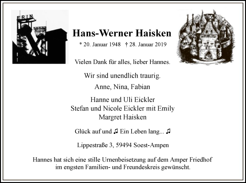 Traueranzeige für Hans-Werner Haisken vom 30.01.2019 aus MZV