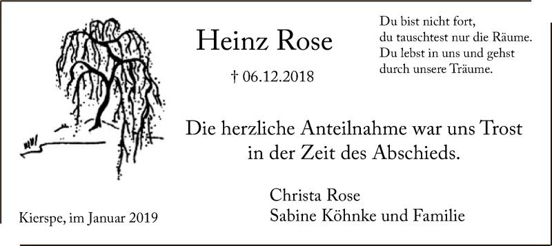 Traueranzeige für Heinz Rose vom 12.01.2019 aus MZV