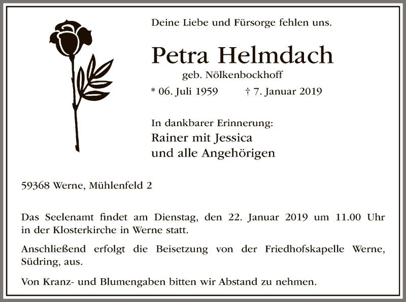 Traueranzeige für Petra Helmdach vom 12.01.2019 aus MZV