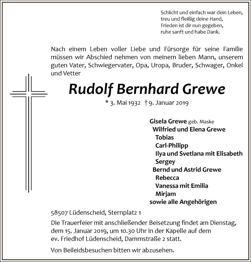 Traueranzeige für Rudolf Bernhard Grewe vom 11.01.2019 aus MZV