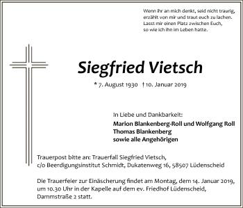 Traueranzeige für Siegfried Vietsch vom 11.01.2019 aus MZV