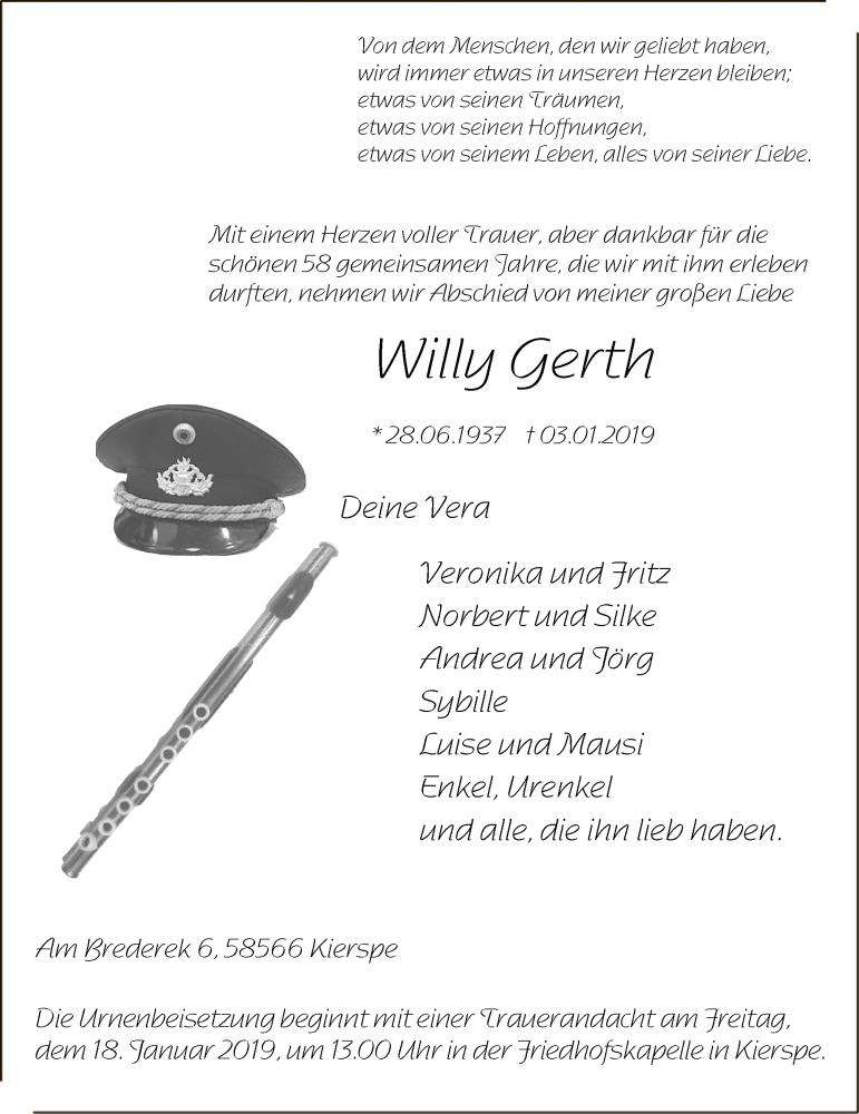 Traueranzeige für Willy erth vom 12.01.2019 aus MZV