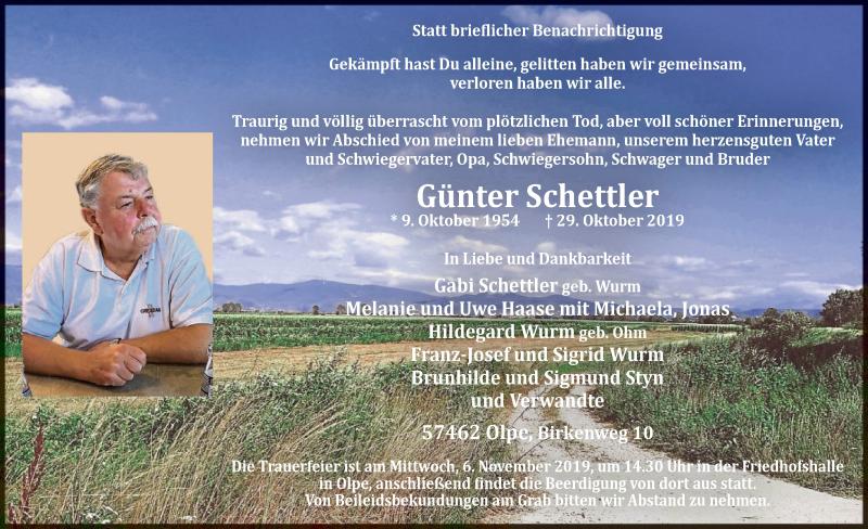 Traueranzeige für Günter Schettler vom 02.11.2019 aus MZV