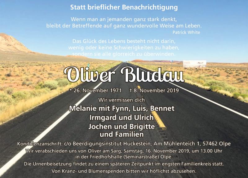 Traueranzeige für Oliver Bludau vom 13.11.2019 aus MZV