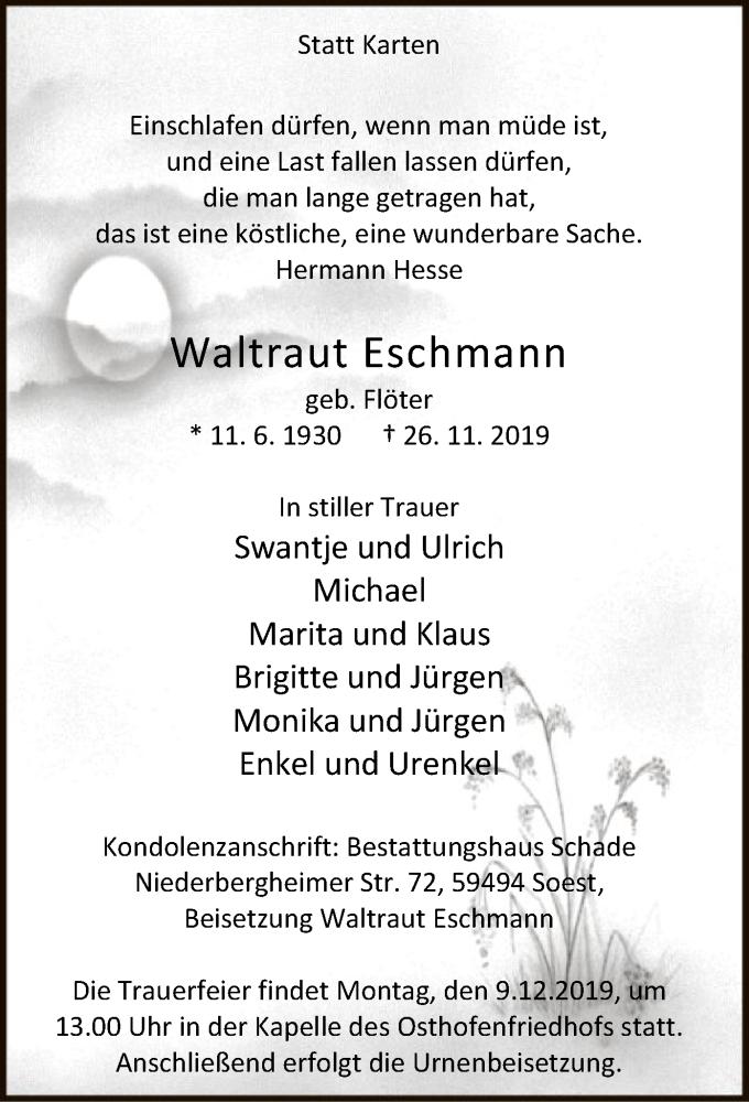 Traueranzeige für Waltraut Eschmann vom 30.11.2019 aus MZV