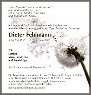 Traueranzeige für Dieter Feldmann vom 23.02.2019 aus MZV