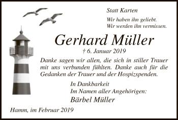 Traueranzeige für Gerhard Müller vom 02.02.2019 aus MZV