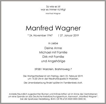 Traueranzeige für Manfred Wagner vom 09.02.2019 aus MZV