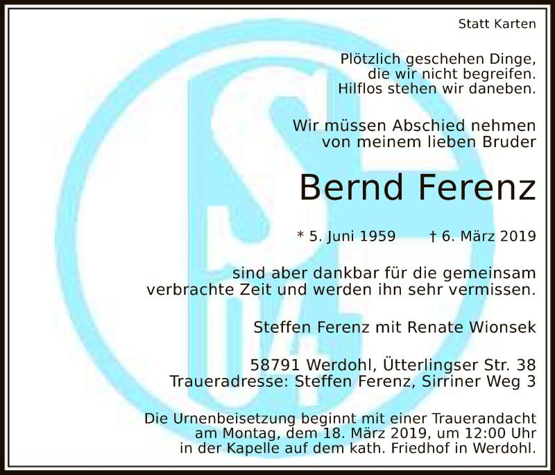 Traueranzeige für Bernd Ferenz vom 13.03.2019 aus MZV
