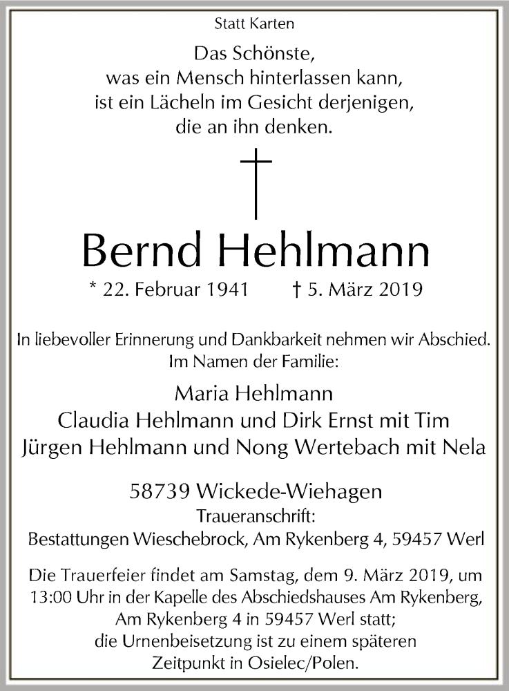Traueranzeige für Bernd Hehlmann vom 07.03.2019 aus MZV