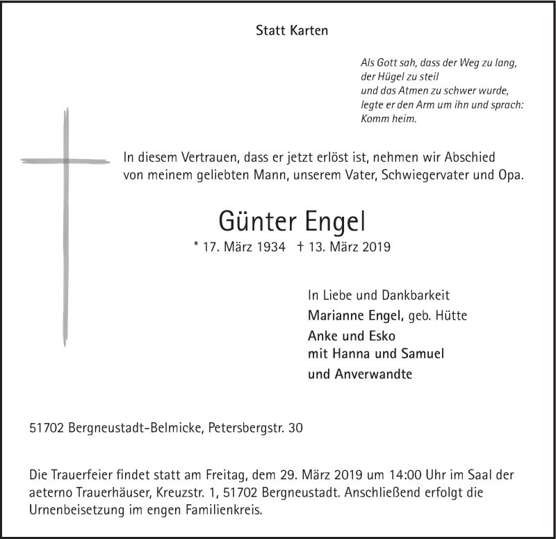 Traueranzeige für Günter Engel vom 20.03.2019 aus HSK