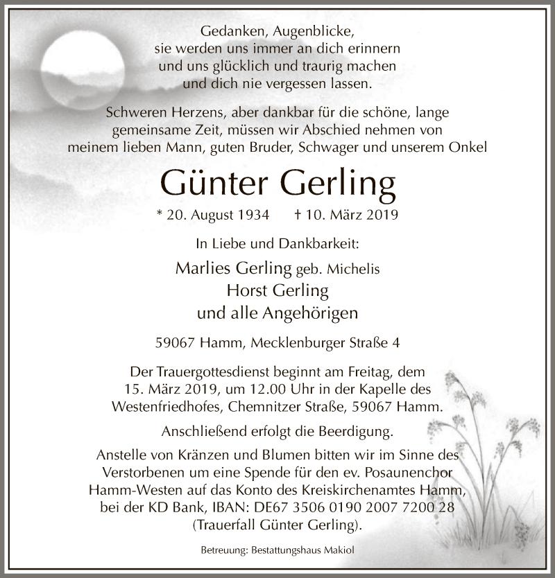 Traueranzeige für Günter Gerling vom 13.03.2019 aus MZV