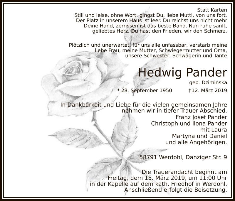 Traueranzeige für Hedwig Pander vom 14.03.2019 aus MZV