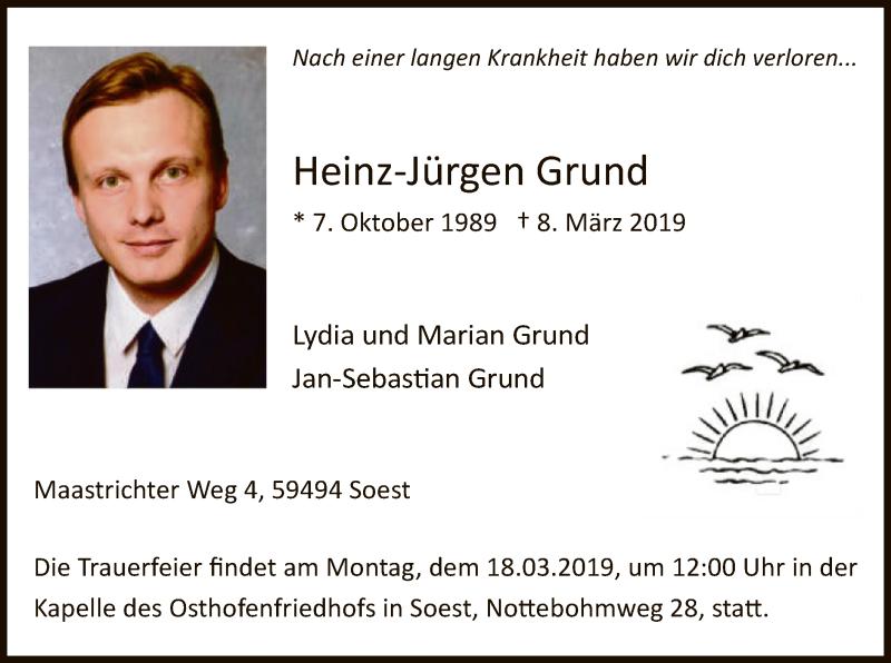 Traueranzeige für Heinz-Jürgen Grund vom 15.03.2019 aus MZV