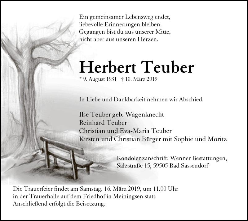 Traueranzeige für Herbert Teuber vom 13.03.2019 aus MZV