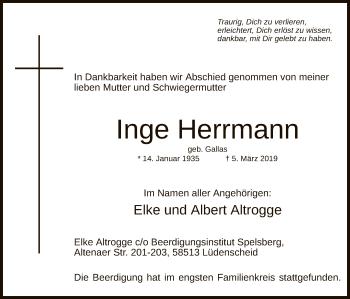 Traueranzeige für Inge Herrmann vom 16.03.2019 aus MZV