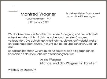 Traueranzeige für Manfred Wagner vom 23.03.2019 aus MZV