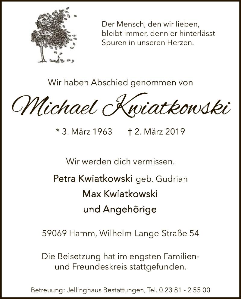 Traueranzeige für Michael Kwiatkwoski vom 13.03.2019 aus MZV