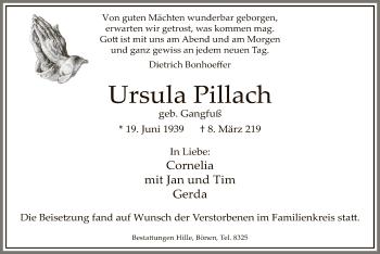 Traueranzeige für Ursula Pillach vom 15.03.2019 aus MZV