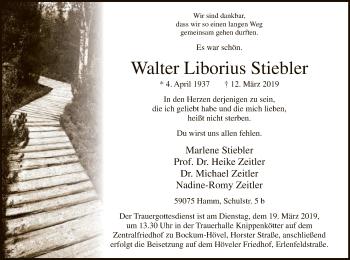 Traueranzeige für Walter Liborius Stiebler vom 15.03.2019 aus MZV