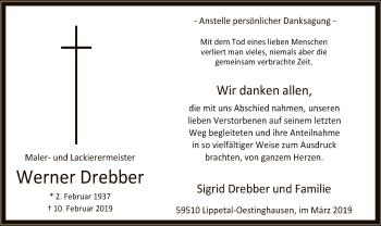 Traueranzeige für Werner Drebber vom 14.03.2019 aus MZV