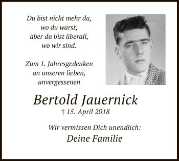 Traueranzeige für Bertold Jauernick vom 15.04.2019 aus MZV