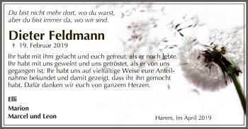Traueranzeige für Dieter Feldmann vom 13.04.2019 aus MZV