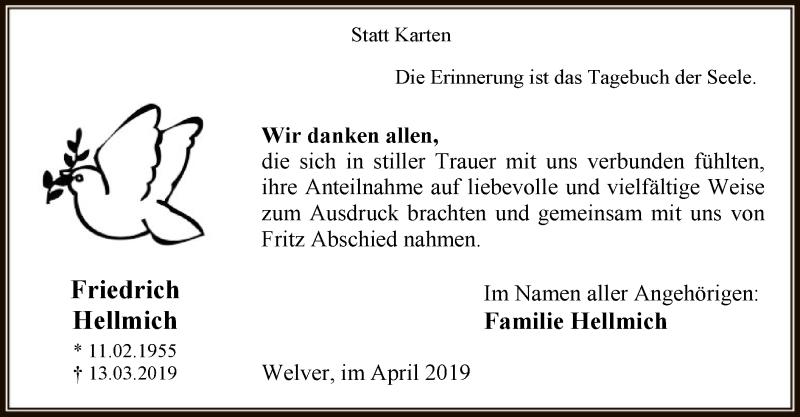 Traueranzeige für Friedrich Hellmich vom 26.04.2019 aus MZV