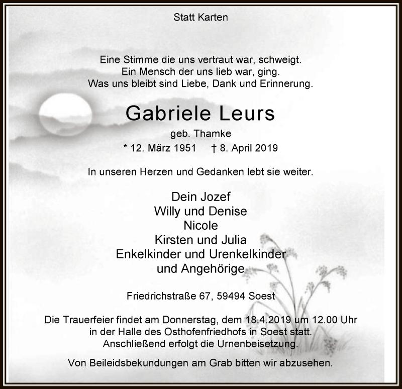 Traueranzeige für Gabriele Leurs vom 13.04.2019 aus MZV