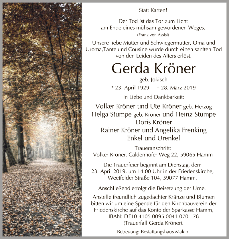 Traueranzeige für Gerda Kröner vom 13.04.2019 aus MZV
