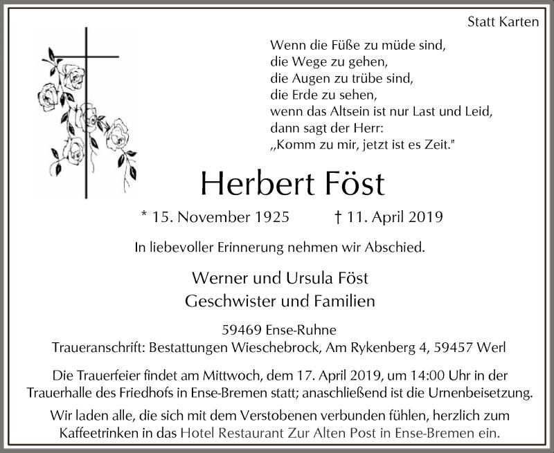 Traueranzeige für Herbert Föst vom 13.04.2019 aus MZV