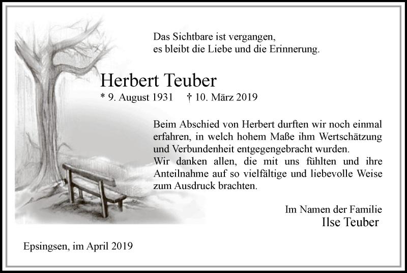 Traueranzeige für Herbert Teuber vom 13.04.2019 aus MZV