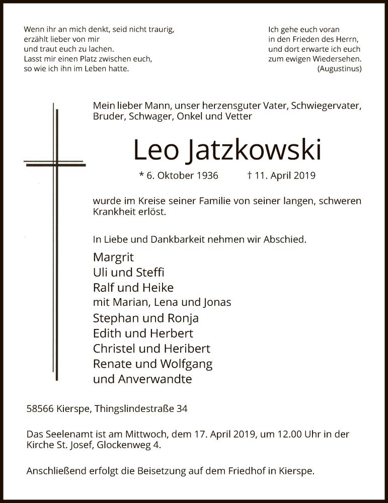 Traueranzeige für Leo Jatzkowski vom 13.04.2019 aus MZV