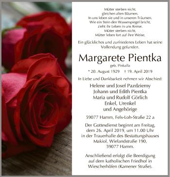 Traueranzeige für Margarete Pientka vom 24.04.2019 aus MZV